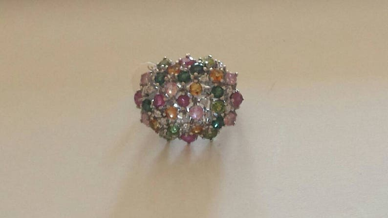 Rhodium Plated Multi Tourmaline Sterling Silver Ring Natural Gemstone Pink Green Yellow Tourmaline Ring October Birthstone