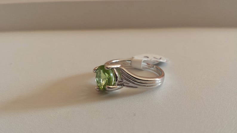 Peridot Sterling Silver Ring Natural Peridot Ring August Birthstone Solitaire Ring
