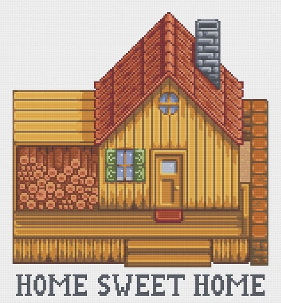 Stardew Valley Home Sweet Home Cross Stitch Pattern (Digital File-PDF)