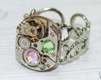 Steampunk ring Statement Jewelry Steampunk jewelry Mechanical ring Movement Ring Unique rings gift women Watch Movement