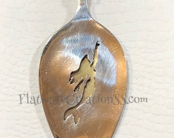 Choose a handcut silhouette pendant made from a rescued silver plated spoon with a brass back  Silverware jewelry