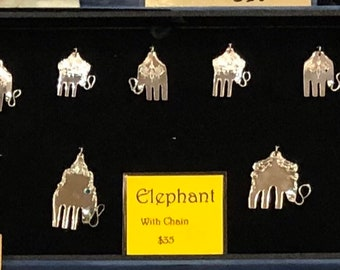 Vintage silver plated fork elephant pendant made from a rescued fork
