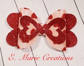Party Silver Gift VDay Heart Bow Love Red Hearts, Hair Clip Valentine/'s Day Glitter Bow Birthday Bow VDay