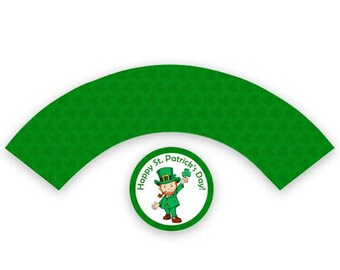 St. Patrick's Day Cupcake Wrapper & Topper, Green 4 Leaf Clover Leprechaun St. Paddy's Day Party Favor, Green Printable Wrapper, Download