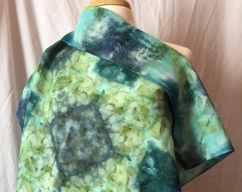 Ice Dyed Linen Large Square Scarf, #032