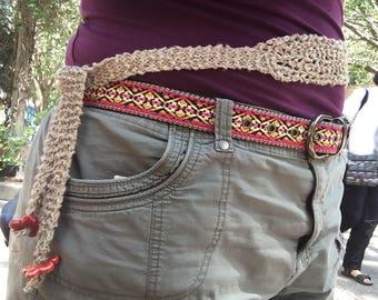 Linen Belt with Ceramic Beads