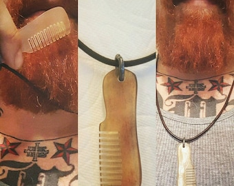 Beard & Moustache Oxcomb Leather Necklace.
