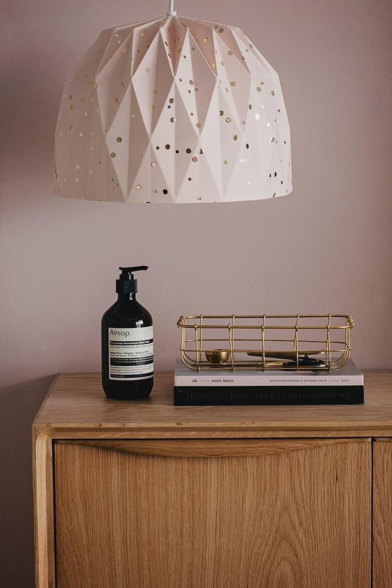 e62afc308c Lampada grande Origami polvere con coriandoli oro appeso | Etsy