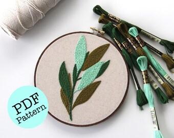 PDF Pattern: Bay Laurel Hand Embroidery Pattern / Femmebroidery / Plant Embroidery / Plant Pattern / DIY Pattern / DIY Home Decor