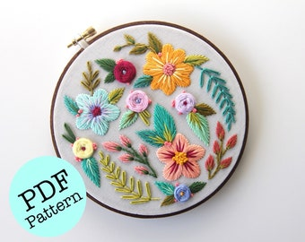 "Embroidery PDF Pattern: Folk Flowers 6"" / Embroidery Pattern / Floral Embroidery / Flower Pattern / Femmebroidery Pattern"