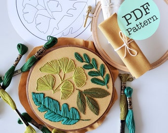 Plant Embroidery Pattern Digital Download / Femmebroidery DIY / Embroidery for Beginners / PDF Only