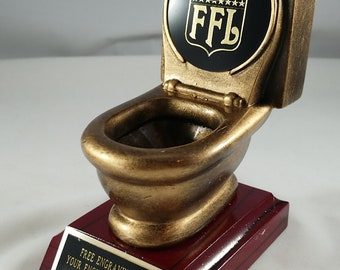 Fantasy Football Last Place Toilet Bowl Trophy Free Engraving