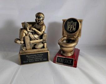 Fantasy Football Armchair Quarterback Trophy - Toilet Bowl Combo Free Engraving!!!