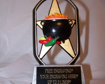 Chili Cook-off Trophy Award-Chili Pot Cooking Contest First Place Award Free Engraving! Free Shipping!