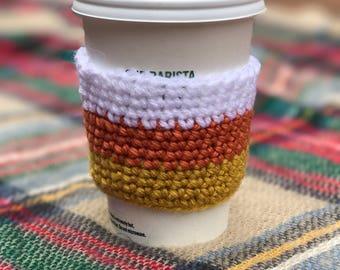 Candy corn crochet coffee cozy - Crochet coffee cozy - fall coffee cozy - candy corn - coffee cup - coffee mug - halloween - gifts under 10