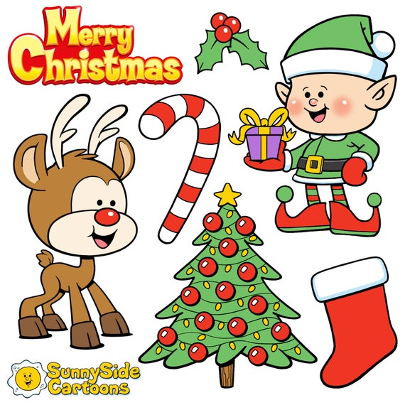 Christmas Cartoons.Christmas Cuties Download These Adorable Christmas Cartoons And Add Some Festive Fun To Your Holiday Project