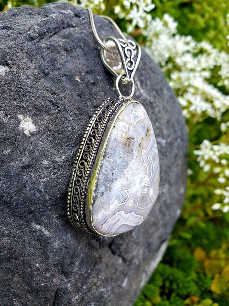Crazy Lace Agate .925 Silver Necklace