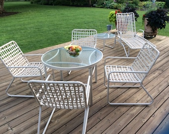4b1f4b45952e6 Vintage mid century Brown Jordan Lito collection outdoor patio furniture  tables chairs chaise lounge chair cross crossed durable plastic