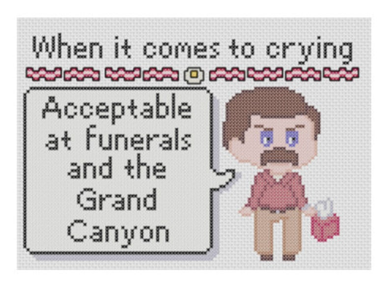 Ron Swanson Says When it comes to crying cross stitch pattern