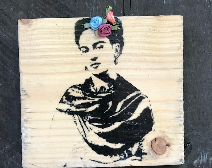 Frida with a Flowers 5x5\u201d