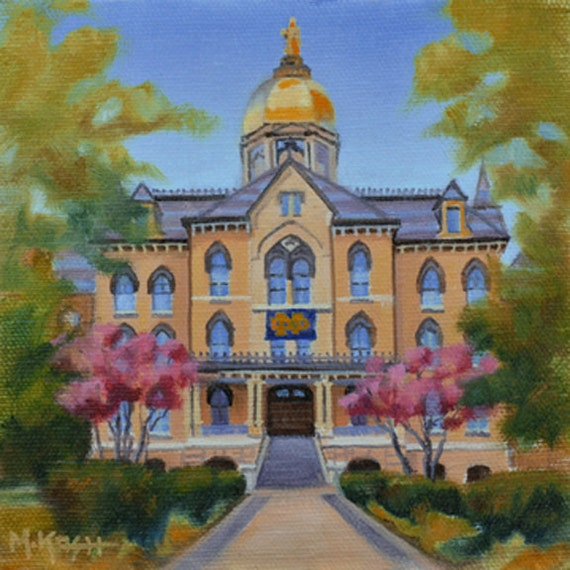 University Of Notre Dame Golden Dome Original Art Golden Dome Oil Painting On Canvas 6 X6 Notre Dame On Canvas