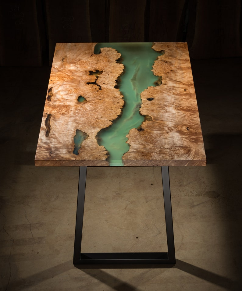 Resin River Table with Burled Maple image 0
