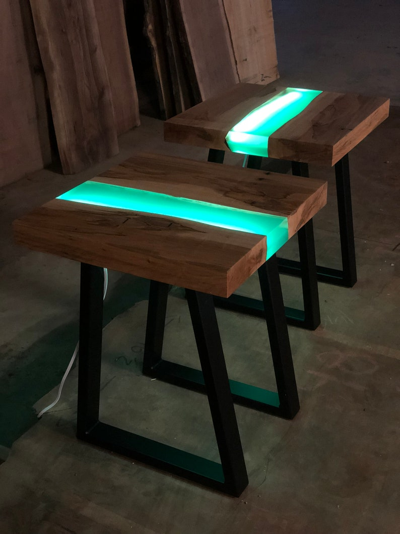 Resin River End Table With L.E.D. Lights
