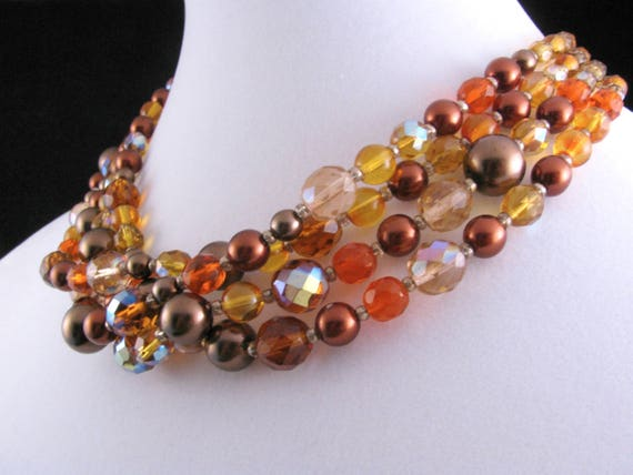 Gorgeous Vintage Joan Rivers Four Strand Czech Gla