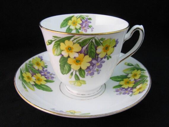 Vintage Duchess English Bone China Teacup and Saucer Set - Yellow Purple  Flowers