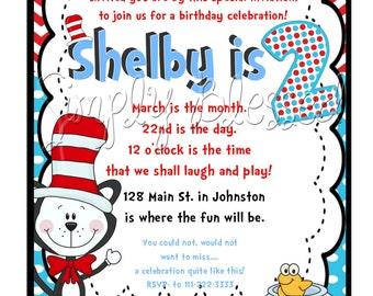 HATs in Cat Birthday Invitation - DIY By: SimplyBlessedDesign