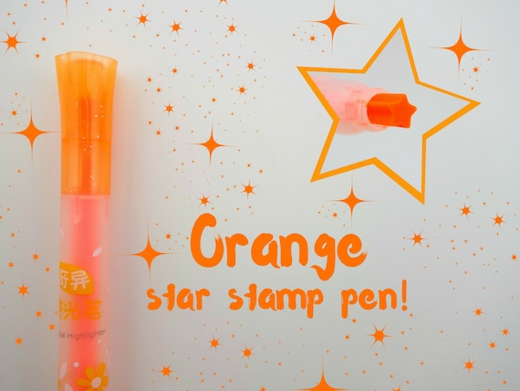 ORANGE Single Star Chinese Stamp Pen Kawaii Tiny Neon