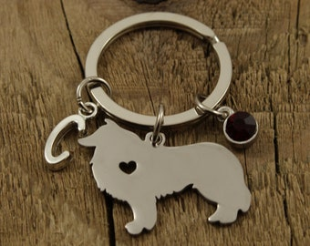 Personalised Border Collie Dog pet keyring gift Lab Birthday