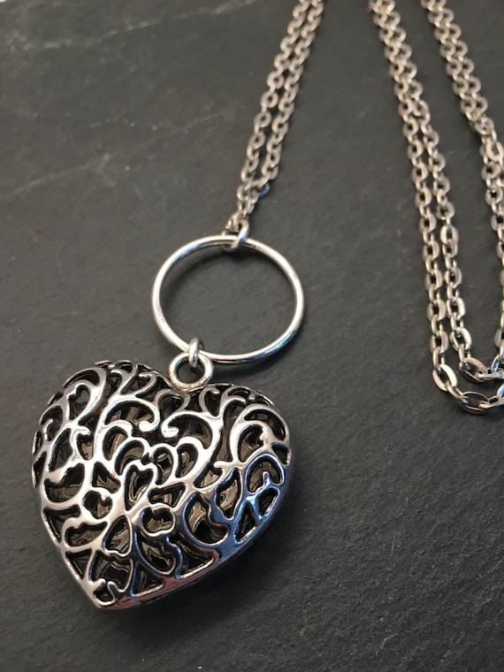 Mosaic Pendant Pink Pendant Necklace Heart Pendant Necklace Valentine\u2019s Day Heart Necklace
