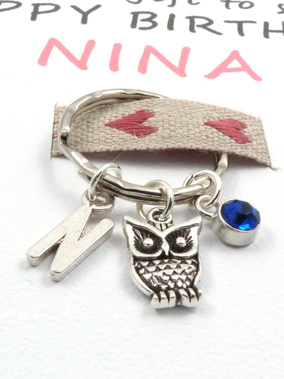 PL17 Ladies custom engraved  personalised owl keyring with velvet gift pouch