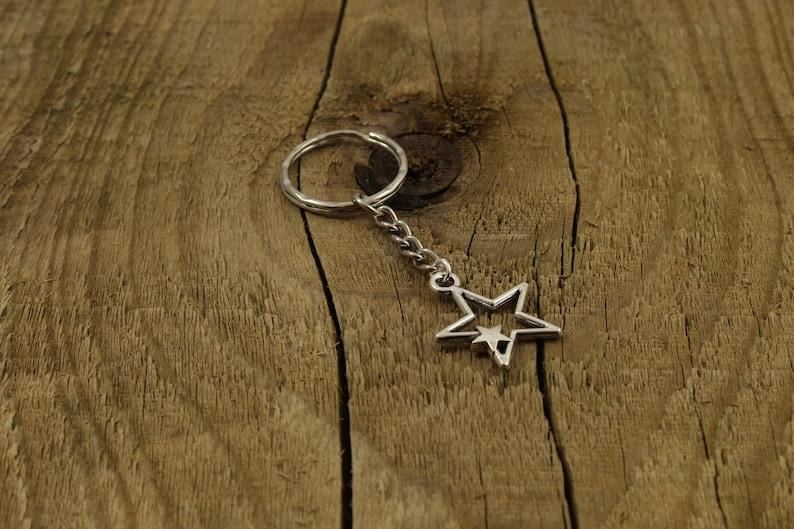 star themed gift star gift stars celestial gift silver star keychain Star keyring astrology gift star keychain silver star keyring