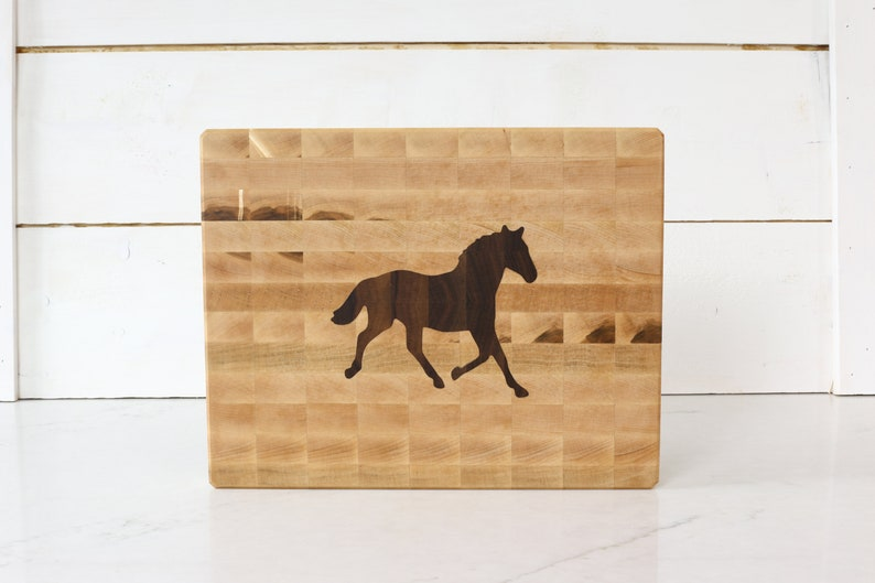 Maple cutting board with walnut horse inlay personalized image 0