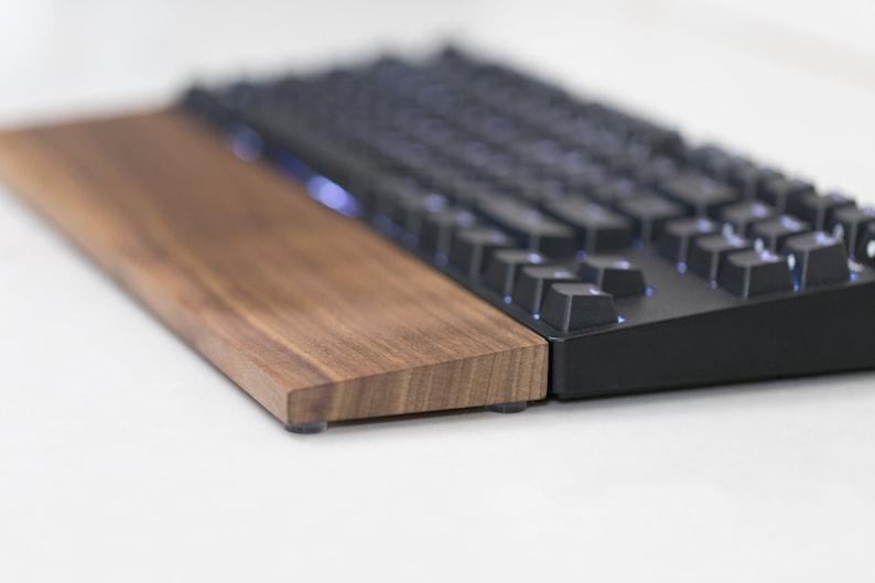 Wooden Walnut Keyboard Wrist Rest handmade and customizable image 0