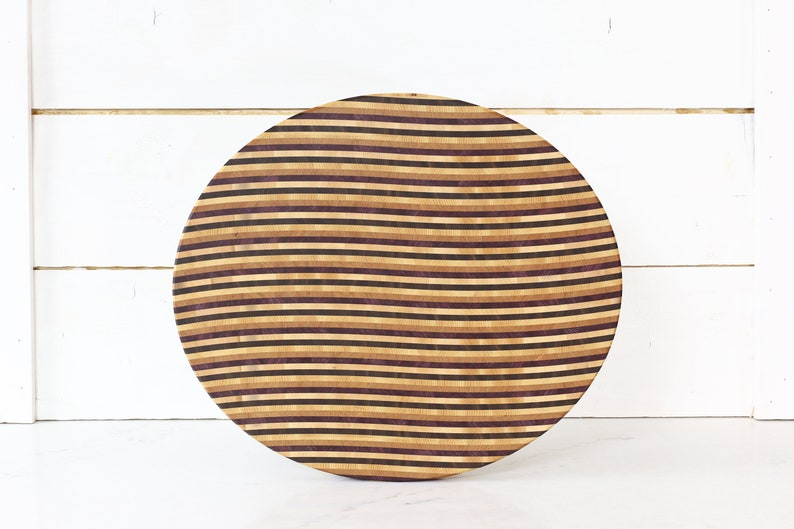 Oval 5 Wood End Grain Cutting Board with Wave Design. image 0