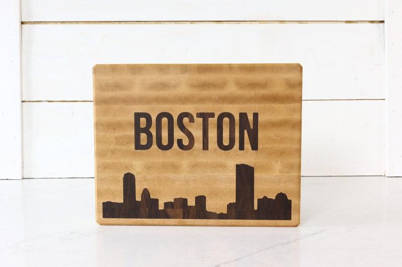 Maple cutting board with Boston Skyline Walnut inlay image 0