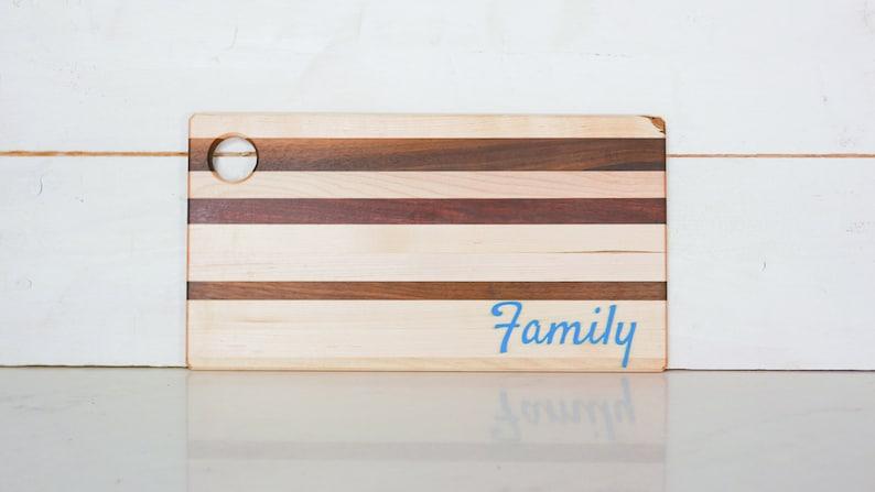 Custom Epoxy serving boards. Maple Walnut Padauk and Purple image 0