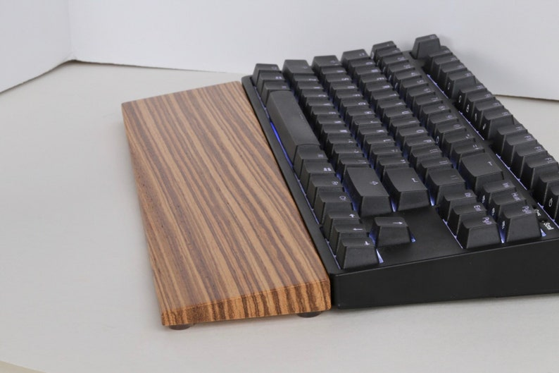 Wooden Exotic Zebrawood Keyboard Wrist Rest Handmade and image 0