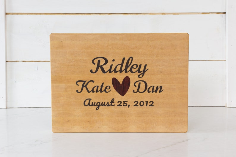 Custom Wedding Board with Names and Date handmade end grain image 0