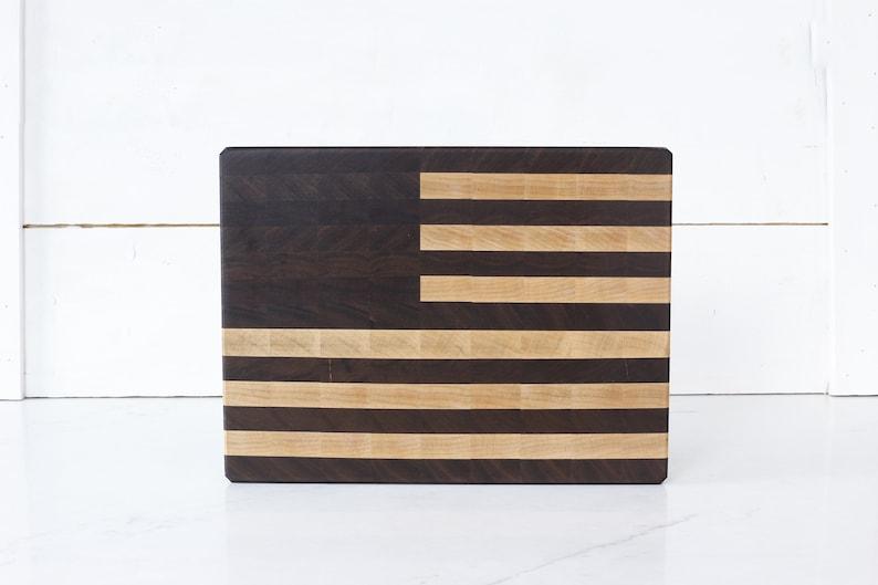 American Flag Walnut and Maple End Grain Cutting Board. image 0