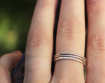 Sterling Silver Stacking Rings, Hammered, Twist, Plain Stacking Rings, Set