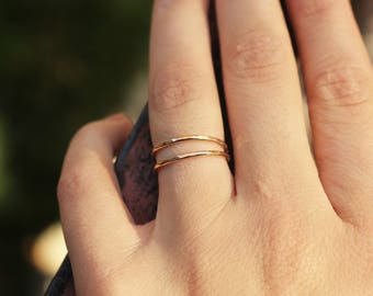 Gold fill Hammered Stacking Ring, Simple Gold Rings