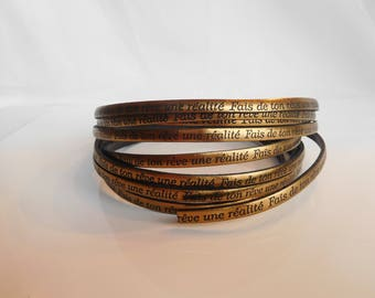 Strap leather make your dream a reality text copper width 5 mm