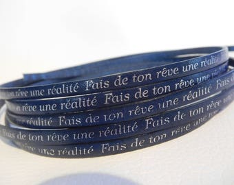 Strap leather text make your dream a reality blue