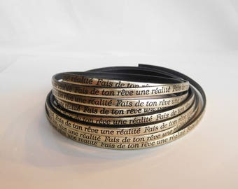 Strap leather make your dream a reality text gold clear width 5 mm