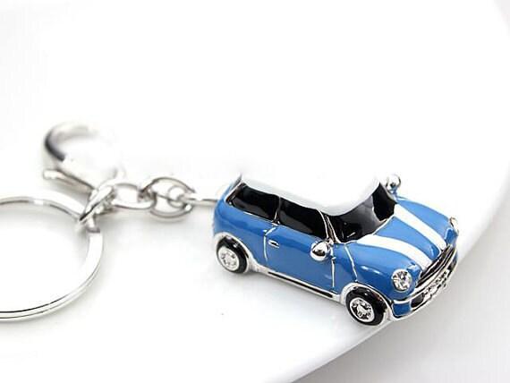 Mini Cardrop Of Oil Plus Diamond Luxury Car Keychain Silver Etsy