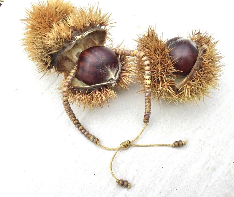 opaque brown Extendable friendship bracelet beautiful pearls miyuki Picasso